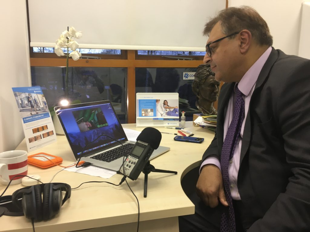 Mr Tariq Ahmad recording voiceover for live surgery webinar